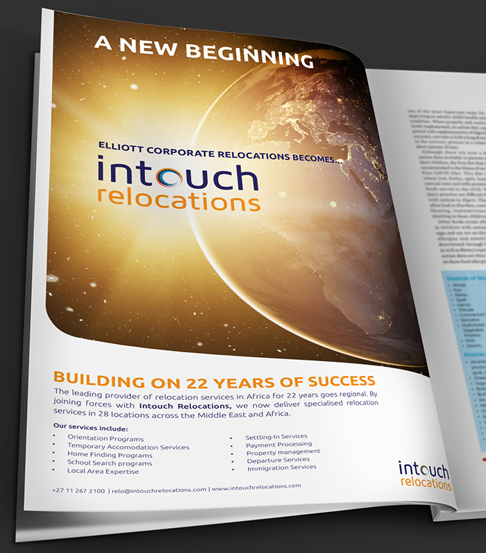 MAGAZINE ADVERT DESIGN - INTOUCH RELOCATIONS