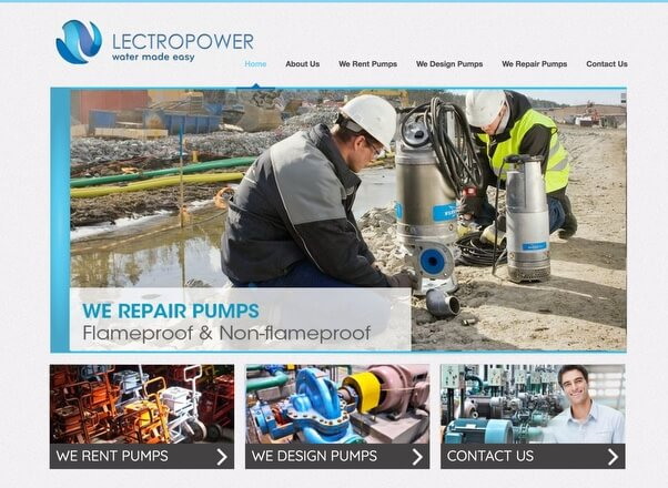 Lectropower Pumps Rental Website Design Development by Agent Orange in South Africa