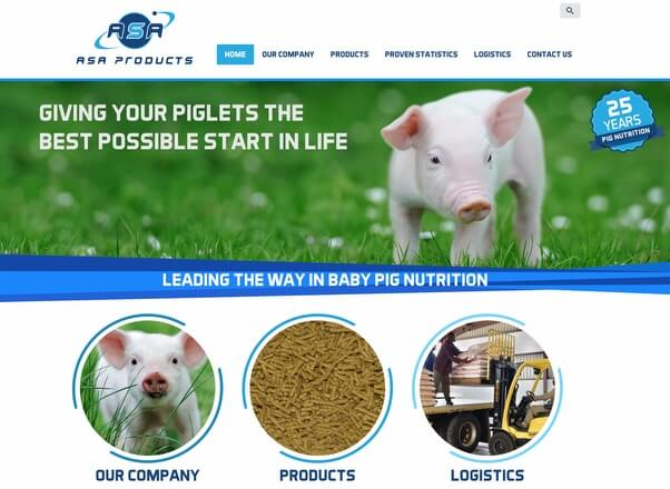 ASA animal feeds products website design by Agent Orange South Africa
