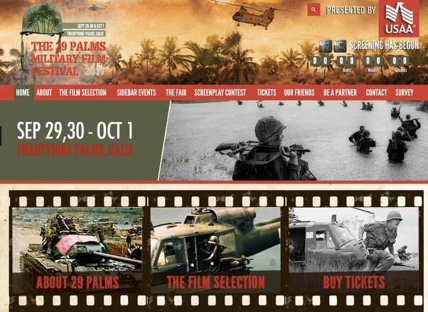 29 Palms Military Film Festival - Events Website Designs by Agent Orange Design South Africa