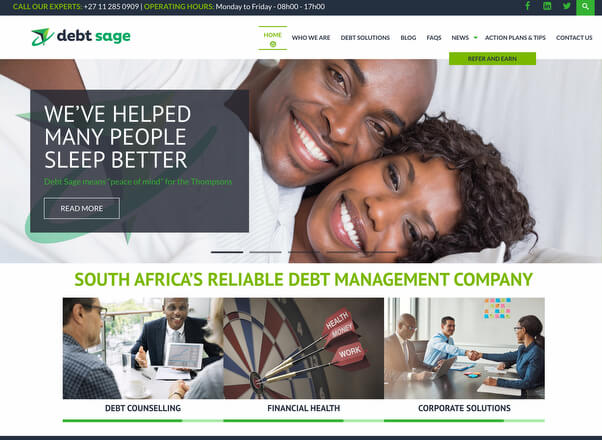 Debt Sage Counselling Company Website Redesign Developers Agent Orange Johannesburg
