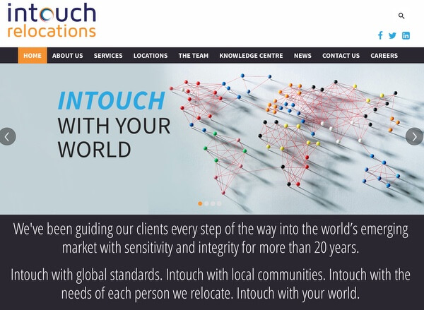 Intouch Relocations Corporate Website Redesign and Development South Africa and Middle East