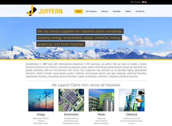 Juffern AG Switzerland Website Design Development by Agent Orange in Johannesburg