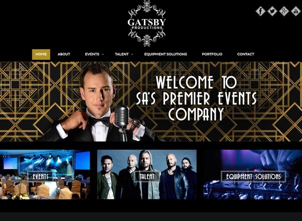 Gatsby Productions - Responsive Website Development by Agent Orange Design in Johannesburg South Africa