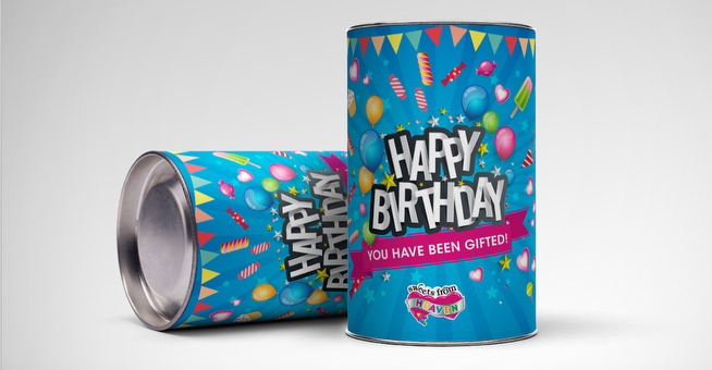 Happy Birthday Cans for Sweets from Heaven Packaging Designers in Johannesburg - Agent Orange Design