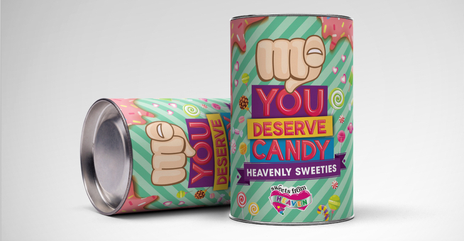 You Deserve Candy Cans for Sweets from Heaven Packaging Designers in Johannesburg - Agent Orange Design