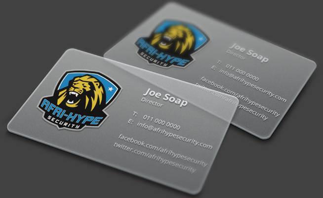 Afri-Hype Security Transparent Business Card Design